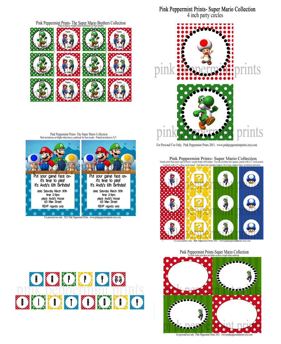 This is a picture of Old Fashioned Super Mario Party Printables
