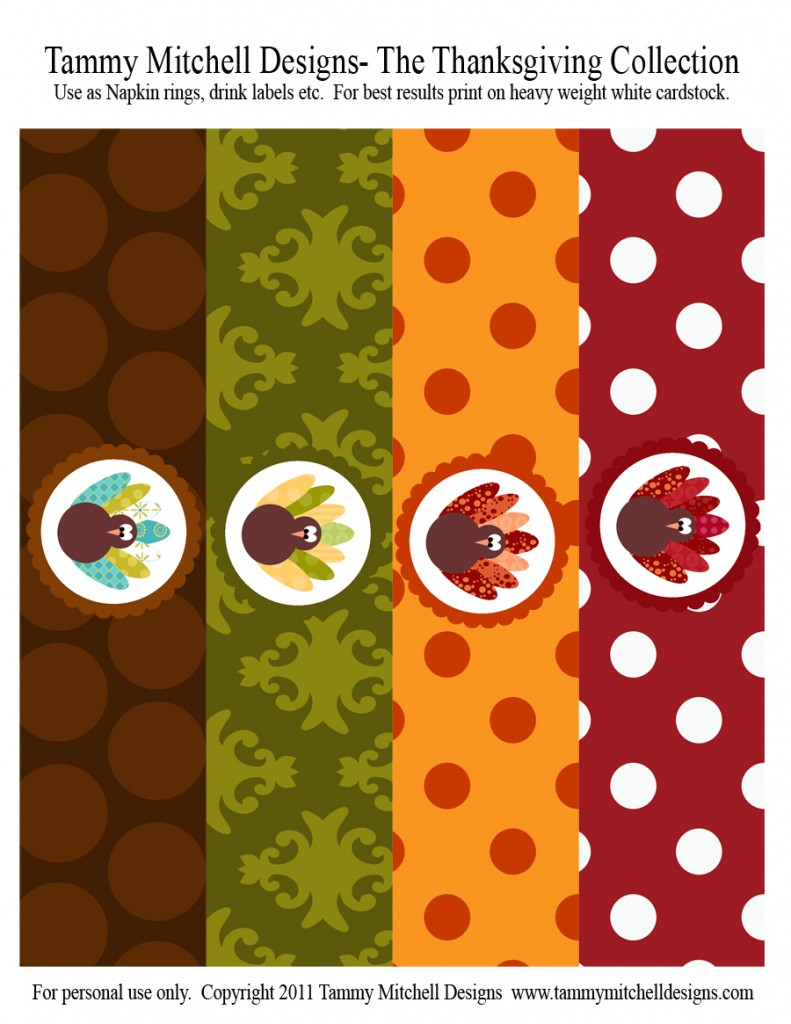 image about Printable Napkin Rings identified as Printable Get together Collections: The Thanksgiving Choice