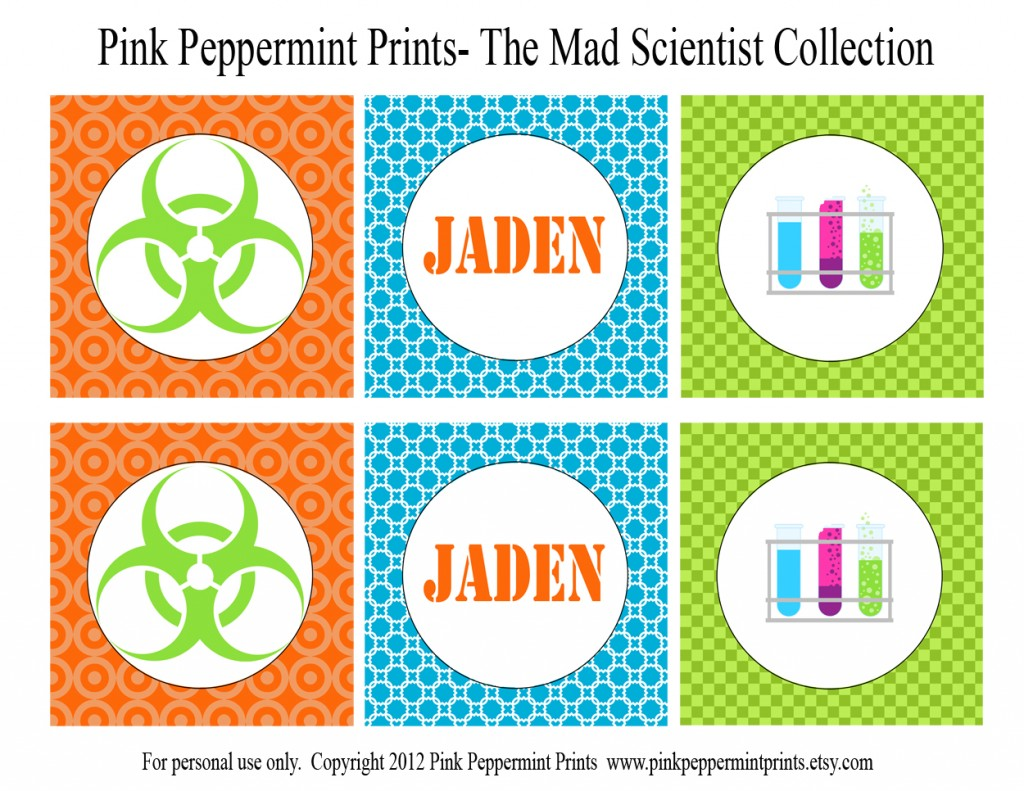 Science Tags: Printable Parties: New Mad Science Printable Party